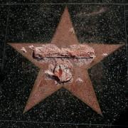 A estrela de Donald Trump, candidato do partido republicano à Presidência dos EUA, é vista após ser vandalizada na Calçada da Fama em Los Angeles, na Califórnia (Foto: Mario Anzuoni/Reuters)