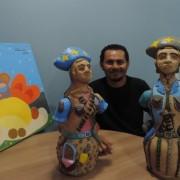 Mostra apresenta ao público 15 telas e 5 esculturas de barro feitas por Waldemir da Silva. Foto: Ascom/Diteal