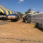 Estrutura do circo está praticamente concluída, ao lado da Praça do Skate, no Centro de Palmeira dos Índios (Foto: Cinara Corrêa)