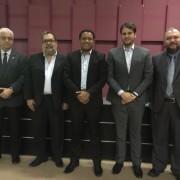 Daniel Bernardes, Pedro Oliveira, prefeitos Julio Cezar e Cacau e o auditor de Palmeira dos Índios Vladimir Barros