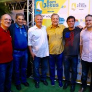 Ronaldo Lopes, senador Hélio José, senador Renan, deputado Ronaldo Lessa, prefeito Marcius Beltrão e governador Renan Filho, na festa do Bom Jesus dos Navegantes de Penedo
