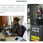 abo Alexsandra Lopes Freire, do Batalhão de Radiopatrulha, está à disposição da Força Nacional há mais de três anos (Foto: Reprodução Informativo FN)