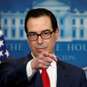Mnuchin speaks during a press briefing in Washington