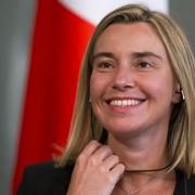 Federica Mogherini in conferenza  a Mosca